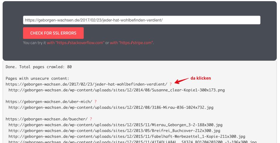 Suche nach mixed SSL Content